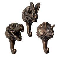3 PCS Creative Bronze Dinosaur Resin Decorative Wall Hooks Mounted Coat Hangers