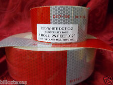 DOT CONSPICUITY  REFLECTIVE SAFETY TAPE C2 25 FEET fast free shpg RED/WHITE