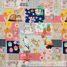 BonEful Fabric Cotton Quilt Blue Pink White Cat Flower VTG Sewing Machine SCRAP