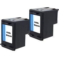2pk Rem. 61XL CH563W Black Ink for HP Deskjet 1010 1050 1055 1056 1510 1512 2050