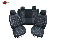 For Skoda Black Eco Leather Elements Fabric Seat Covers Diamond White Stitch