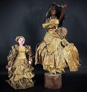 Rarissime 2 poupées anciennes vetue de tabac à cigares (voir provenance socle)