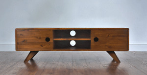 130cm Vintage Retro TV Stand/ Entertainment Unit. Solid Wood, Rustic, Lowboard