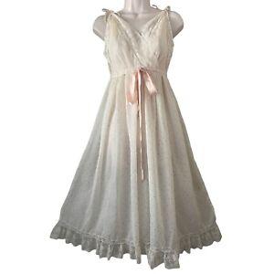 Vintage Saks Fifth Avenue Peignoir Sheer Night Gown Lingerie Boudoir Floral Lace