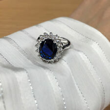 14K White Gold 3.48 Ct Natural Diamond Blue Sapphire Style Princess Diana