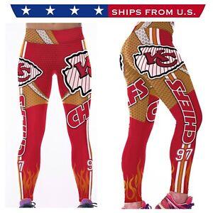 NFL KC CHIEFS  Women's Leggings - ALL SIZES - Red/Gold
