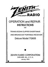 Operation & Service Manual For Zenith Clipper 7G605 Comb Bound 8.5x11""