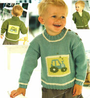 "Baby Tractor Motif Sweater & Jacket 0 - 6 years ~ 16"" - 26""  DK Knitting Pattern"
