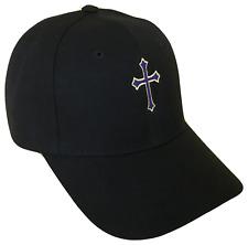 Black Christian Cross Religious Baseball Cap Caps Hat Hats God Jesus Purple Gold