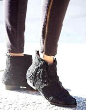 New Womens 38 7.5 Free People Decades Black Fringe Raw Suede Ankle Boots Booties