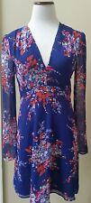 CHARLES HENRY Cobalt Blue Floral Long Sleeve V-Neck Dress Sz S FASHION HAVEN