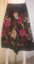 TU  BROWN COTTON FLORAL SKIRT Size 14