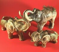 """ELEPHANT FIGURINE FAMILY TRUNK UP TAN WITH SADDLES LOT OF 3 VINTAGE LARGEST 9"""""""