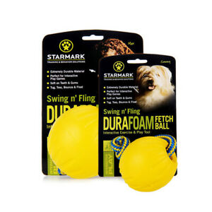 Starmark Design-New Swing 'n Fling DuraFoam Fetch Ball for Dog Retrieval Games