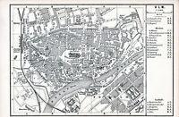 Ulm 1880 kl. orig. Stadtplan + engl. Reisef. (3 S.) Gasthof Baumstark Münsterpl.