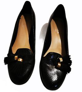 Carvela Kurt Geiger black snakeskin loafers with tassels size 38