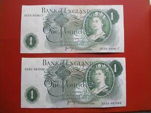2 x One pound note - HS50 959352 & HX50 487066 - good condition       (ref e32)