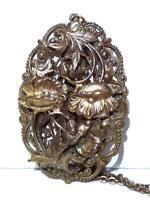 "Antique Necklace Huge Floral Filigree Poppy Repousse Pendant Gold Filled 22.5"""