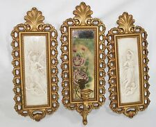 Regency Cherub Angel HOMCO DART PLAQUE WALL DECOR Candle Sconce Ornate Mirror