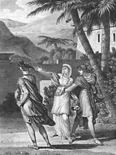 ROMANCE. Man & lady 2nd drawing sword c1800 old antique vintage print picture