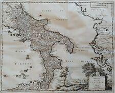 1723 Peter Van der Aa Mappa Regno di Napoli Cartiglio con il Vesuvio Italia Sud
