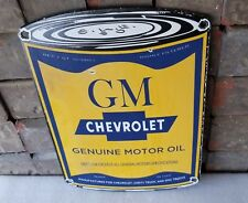 VINTAGE CHEVROLET PORCELAIN GAS AUTO MOTOR OIL GMC TRUCKS SERVICE BOWTIE SIGN