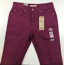 Levis 505 Straight Stretch Jean Women 8M 29x32 Magenta Purple NWT Cotton Blend