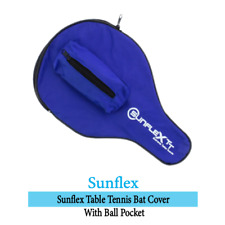 SUNFLEX Table Tennis Bat Case Blue Nylon Full Racket Cover with 3-Ball Pocket
