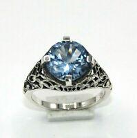 Blau Topas  Ring   925 Sterling Silber   ANTIK STYLE    Ø 19.1 mm