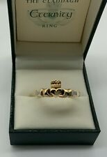 "UNUSUAL 14k CLADDAGH DIAMOND RING OPENS TO READ ""ETERNITY"" Size 11 1/4  BOX"
