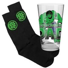 124005 SET OF 2 THE HULK DAD 450ML CONICAL GLASS & SOCKS SUPERHERO GIFT PACK