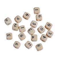 30 Stück Holzperlen Quadrat Zahlen Natur 10 mm Holz Perlen Basteln Loch Schmuck