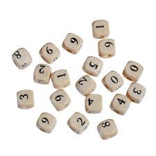 30 Stück Holzperlen Quadrat Zahlen, Naturfarben, 10x10mm, Loch 4mm Basteln Perle
