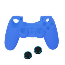 Funda Silicona Azul Mando + 2 Fundas Protectoras Joystick Analogico para PS4