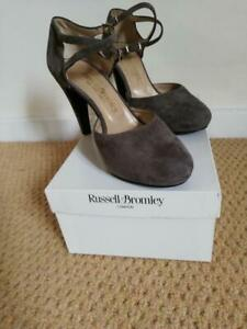 RUSSELL & BROMLEY CrissCross Taupe Suede Double Strap Shoes Size 37.5 UK 4.5