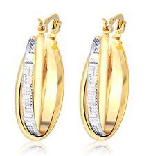 PHENOMENAL 18K TWO TONE GF GOLD HUGGIE HOOP EARRINGS LADIES SOLID DRESS WEAR