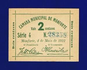 Portugal Camara Municipal Monforte, 2 Centavos 1922 UNC 28358