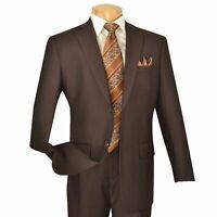 VINCI Men's Brown 2 Button Classic Fit Business Suit w/ Pleated Pants NEW