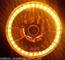 """AMBER Halo H4 7"""" Round Headlamp LED Angel Eye Semi Sealed Beam Universal Crystal"""