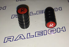 "RALEIGH BUDGIE, CHOPPER, GRIFTER, TOMAHAWK 2 x ""R"" LOGO BLACK DUST CAPS"