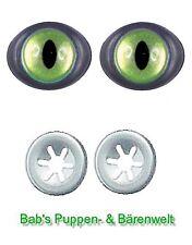 1 Paar Sicherheitsaugen Katzenaugen lange Pupille oval grün 12 mm