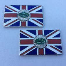Pair of JAGUAR Union Jack GB Metal Enamel Classic Car Badges - Self Adhesive