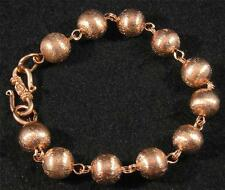 "Brushed Textured Pure Copper Ball Round Link Chain Bracelet 8""  6 3/4"" closed"