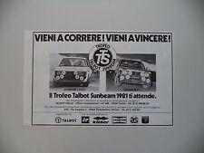 advertising Pubblicità 1981 TROFEO TALBOT SUNBEAM LOTUS - TI