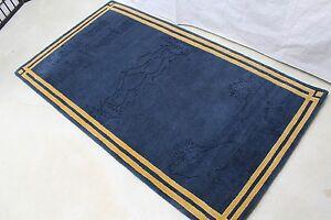 R2174 CUSTOM MADE BLUE COLOR TIBETAN MEDITATION RUG 3' X 5' HAND KNOTTED NEPAL