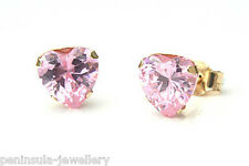 9ct Gold Pink CZ Heart Studs Earrings Made in UK Gift Boxed
