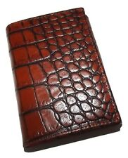 NEW SCULLY MEN'S CROC EMBOSSED LEATHER TRIFOLD WALLET COGNAC