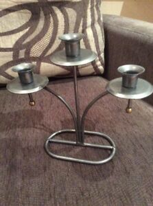 A SILVER / GREY DISTRESSED 3 ARM CANDELABRA WITH GOLD CAPS #BR