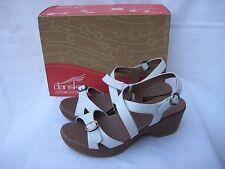 "Women's DANSKO ""Julie"" white leather Wedge Heel Sandals 41 (US 11)"