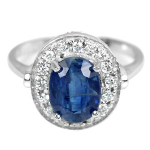 NATURAL AAA BLUE KYANITE OVAL & WHITE CZ STELRING 925 SILVER RING SIZE 6.75